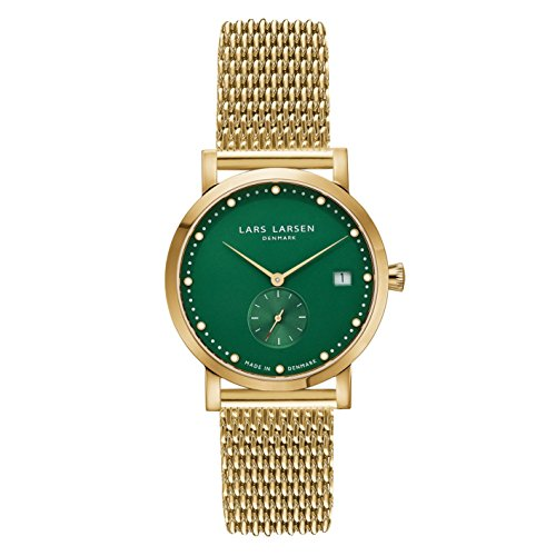 Lars Larsen LW37 Women's Quartz Watch with Green Dial Analogue Display and Gold Stainless Steel Bracelet 137GEGM