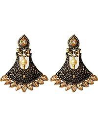 AyA Fashion Designer Ethnic Black & Golden , Gold Plated Earrings Studded With American Diamond | Metallic Hand...