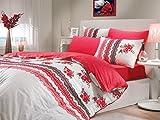 Camila rot [Double] Luxus Bettwäsche-Set mit Spannbettlaken für Doppelbetten, []–100% Türkische Baumwolle, 1Jahr Hersteller Garantie; Camila Design; Bettbezug + Spannbetttuch + zwei Kissen; optimal verpackt zum Verschenken.