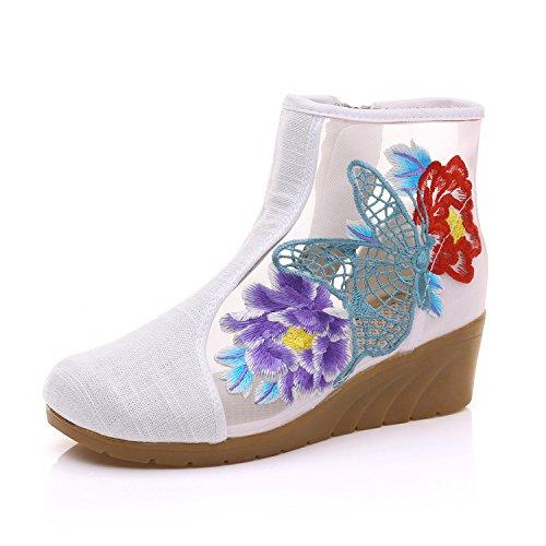 Tissu Pente Broderie Le KHSKX Bottes Avec De Estivale Lacets Court Style Folklorique Tube white Chaussures De Rice 54BWPB