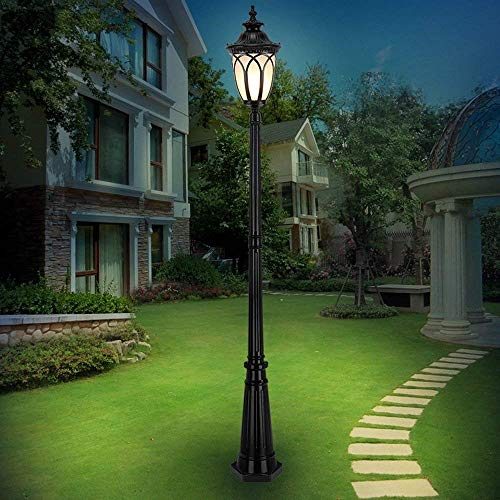 Hines Européenne Antique Victoria Glass Lantern Lawn Garden Léger Résistant à la Corrosion 1-lumière 2.4 M Extérieur LED Pier Lampadaire Street Light Villa E27 Décoration Imperméable Post Column Lampe