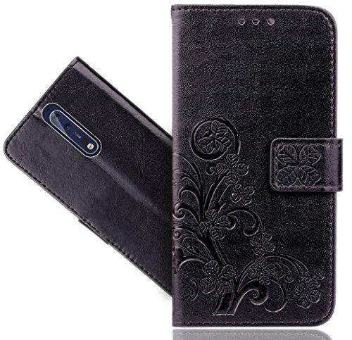 Nokia 8 Handy Tasche, FoneExpert® Wallet Case Cover Flower Hüllen Etui Hülle Ledertasche Lederhülle Schutzhülle Für Nokia 8