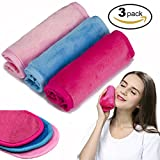 Makeup Remover Cloth 3 Pack - Chemical Free–Move Makeup Instantly with Just Water - Reusable Facial Cleansing Towel - Money-back Satisfaction Guaranty (1Pink+1Blue+1Rosy)