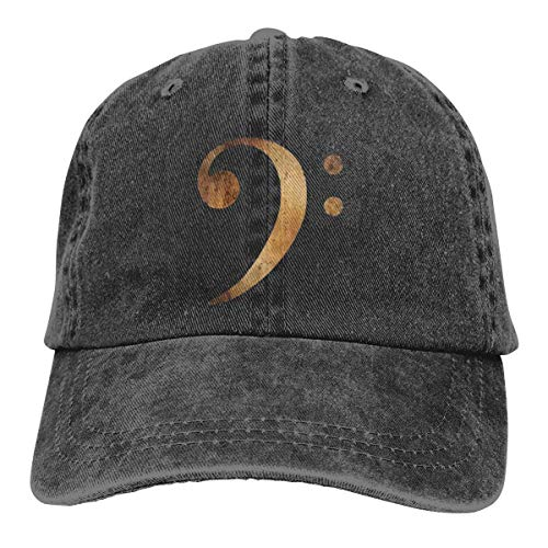 Bass Clef Music Retro Adjustable Cowboy Denim Hat Unisex Hip Hop Black Baseball Caps