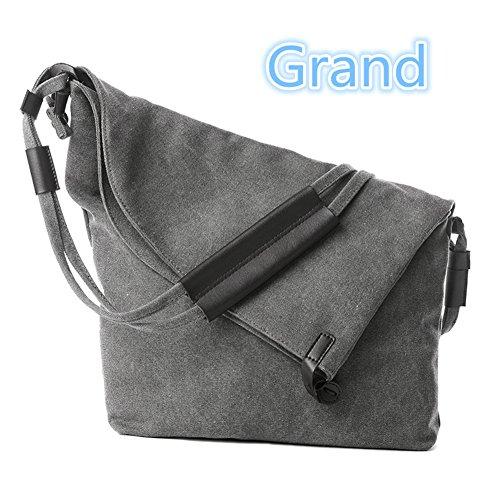 YAAGLE Sac à main Femme Nouveauté Sac bandoulière élégant sac d'épaule en toile gris 1