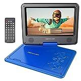 """DBPower® 11.5"""" Lecteur DVD Portable, Pile Rechargeable de 5 Heures, avec écran orientable, compatibilité Carte SD et Interface USB, lit Directement Les formats AVI, RMVB, MP3 et JPEG (Bleu)"""