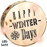 alles-meine.de GmbH 1 Stück _ Licht & Deko - Holzstamm - LED -  Happy Winter Days  - Holzscheibe..