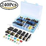 Elektrische Draht Kabel Anschluss Stecker 1/2/3/4/5/6 Stift-Weise Klemmen mit Standard und Blade Sicherungen (240pcs)