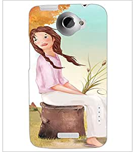 PrintDhaba Sitting Girl D-2658 Back Case Cover for HTC ONE X (Multi-Coloured)