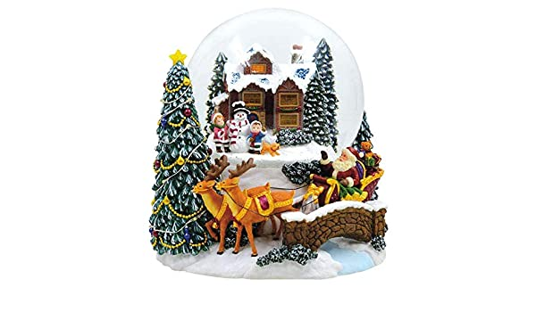 18cm Wundersch/öne Glaskugel mit Dekoration Weihnachten Riffelmacher Spieluhr Schneekugel Weihnachtsbaum mit umfahrender Eisenbahn 72292 Schneeflocken und Musik