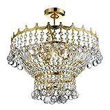 Klassische Deckenleuchte in Chrom Gold 5xE14 bis zu 40 Watt 230V aus Glas & Metall Schlafzimmer Küche Wohnzimmer Esszimmer Lampen Leuchte innen Beleuchtung