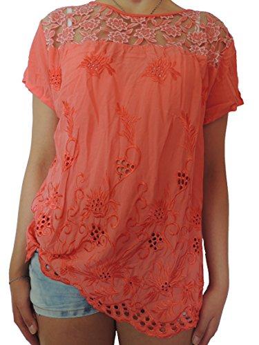 Viele verschiedene Farben Damen Blusen Shirts Größe 40 42 44 46 Coral