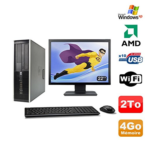 Hp Pack PC Compaq 6005 Profi SFF AMD 3GHz 4gb 2To Gravierer Wifi Windows XP + 22