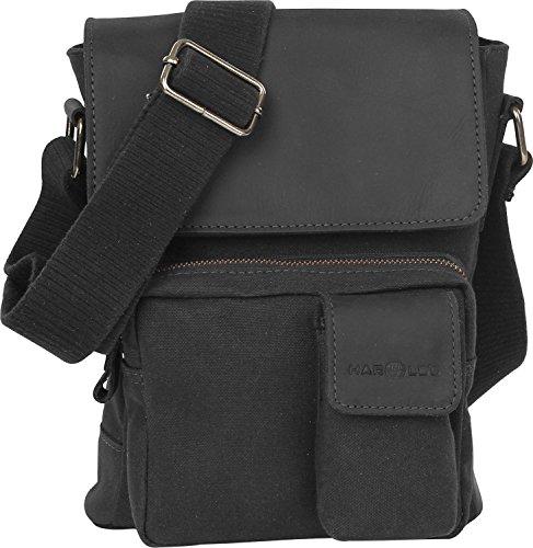 Harold´s WAXCAN Shoulderbag w. Pockets Small, Borsa a spalla donna, Nero (nero), S 1 nero