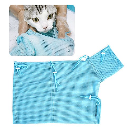 Tie langxian Pet Cat Grooming Washing Bath Bag, Mesh Bag For Shower, Cleaning Ear, Medicine Feeding,Scratch-Resistant Bag, Fixed Bag Cat Bath Bag (Blue Bag)