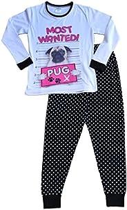 Pijama largo para niña de 9 a 16 años con diseño de perro carlino y texto «Most Wanted Pug»