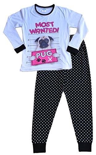 ThePyjamaFactory Girl's Long Pyjamas Most Wanted Pug PJ 9 To 16 Years
