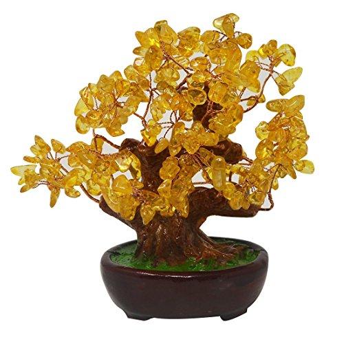 Feng Shui Natur Gelb Quarz Kristall Geld Baum Bonsai Stil Dekoration für Reichtum und Glück HN131 Glück, Geld, Baum