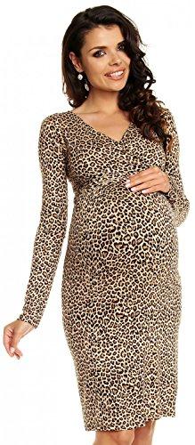 Zeta Ville - maternité robe imprimé animal de grossesse col en V - femme - 284c Léopard Brun