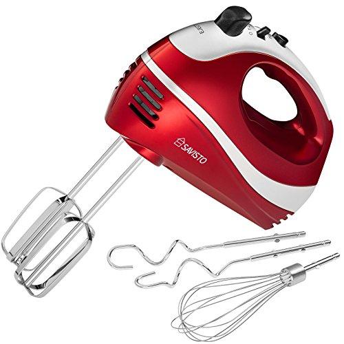 Savisto 300W Elektrisches Handmixer mit Quirl, Knethaken und Schneebesen Aufsatz - 5 Geschwindigkeitsstufen und Turbotaste Handrührgerät - Rot / Grau