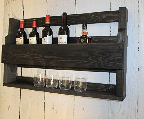 dekorie67 Holz Whiskeyregal mit Gläserhalter fertig montiert schwarz Vintage Shabby