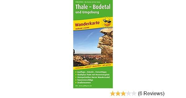 thale bodetal und umgebung wanderkarte mit ausflugszielen einkehr freizeittipps und stadtplan thale wetterfest reissfest abwischbar gps genau