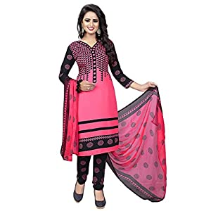 TASHVI CREATION Women's Faux Crepe Printed Salwar Suit (Pink, Free Size)