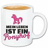 Reifen-Markt Kaffeetasse Mein Leben IST EIN Ponyhof - JUNGGESELLENABSCHIED - Fun Shirt - Party - Stimmung Keramik 330 ml in Weiß