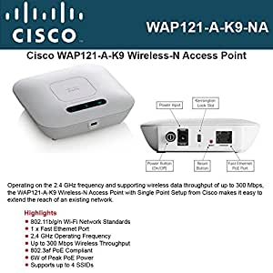 CISCO SMALL BUSINESS 1 WAP121-A-K9-NA WAP121 WL N ACCESS POINT WITH POE