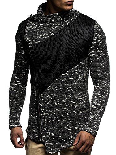 LEIF NELSON Herren Strickjacke Pullover Hoodie Jacke Sweatjacke Winterjacke Pulli Zipper LN20702; Gr_¤e M, Anthrazit