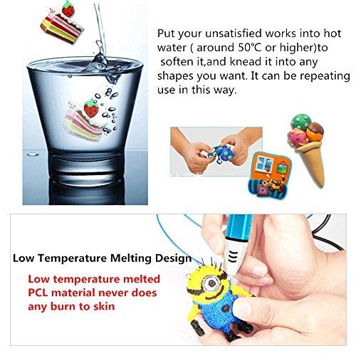 Uvistare 3D Drucker Stift Set 3D Stereoscopic Printing Pen Drawing, 3 x 3M PLA Filament ( Blau Rot Gelb ), Intelligent mit LCD-Bildschirm, Freihand 3D Zeichnungen, für Kinder Erwachsene Kunstwerken - 5