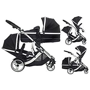 Duellette 21 BS combi Double Pushchair Twin Tandem complete carrycot/converts to seat unit. Free rain covers and 2 free Black footmuffs. Midnight Black by Kids Kargo  UNIQUE SHAPE DESIGN Adopt unique safety design concept to make the stroller frame more stable and safe; Reinforced double steel springs absorbing vibrations ensure the safety of your baby's brain and bones FRIENDLY MATERIAL Lycra /Oxford fabric fabrics are durable and dirt-proof, easy to clean; Rust-proof frame is fire retardant, folding easily. solid wheels are wear-resistant, explosion-proof and shock-absorbing. QUICK-ADJUSTING : Adjustable canopy,Adjustable handlebar meet the demands of people in different height, do not need to bend over; One-step braking and release braking 10