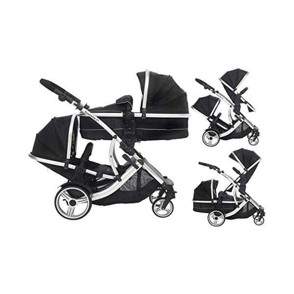 Duellette 21 BS combi Double Pushchair Twin Tandem complete carrycot/converts to seat unit. Free rain covers and 2 free Black footmuffs. Midnight Black by Kids Kargo Kids Kargo Demo video please see link https://www.youtube.com/watch?v=5L8eKWGqoso Various seat positions. Accommodates 1 or 2 car seats Carrycot converts to seat unit incl mattress. Toddler seat from 6 months 1
