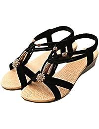 Naturazy Casual Pretty Adornos Peep-Toe Zapatos De Hebilla Plana Sandalias Romanas De Verano Y
