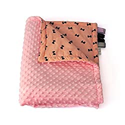75cm x 100cm, Rose + Bows: 1buy3 MINKY lined baby blanket |plush blanket |play rug |cuddle blanket 75 x 100 cm (Rose + Bows)
