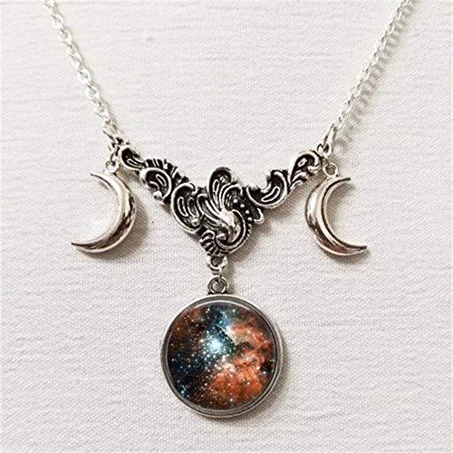 BUYAO Galaxy Constellation Three Moon-Halsketten, Hexen-Pagan-Juwelen, Silberhalbmond, E Galaxy Juwelen