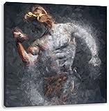 antiker männlicher Sportler Kunst Pinsel Effekt, Format: 70x70 auf Leinwand, XXL riesige Bilder fertig gerahmt mit Keilrahmen, Kunstdruck auf Wandbild mit Rahmen, günstiger als Gemälde oder Ölbild, kein Poster oder Plakat