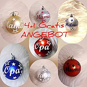 *ANGEBOT* 4+1 matte Weihnachtskugeln personalisiert mit Namen matt