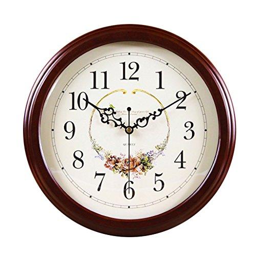 EDSH horloge murale Style européen salle de séjour horloge murale silencieuse horloge bois horloge horloge chambre horloge murale (Couleur : Marron)