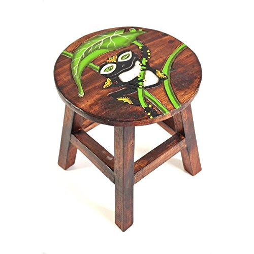 Simandra Holzhocker Kinderhocker Hocker Sitzhocker Fußbank Massivholz Schemel Stuhl mit Tiermotiv Deko braun Farbe Frosch schwarz