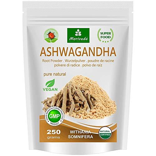 Ashwagandha en polvo 250g (Calidad superior, 100% natural) - Cereza de invierno, Withania Somnifera, Ginseng indio - polvo de raíz de MoriVeda (1x250g)