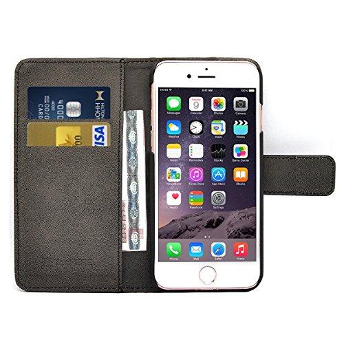 TecHERE ProWallet - Custodia portafoglio / wallet / libro in vera pelle per Apple iPhone 7 - Cover elegante e di alta qualità con porta carte di credito e biglietti da visita - Garanzia 100% soddisfatti o rimborsati - Colore Nero