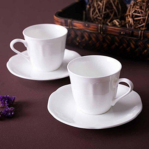 SSBY Bureau de style européen café porcelaine tasse et soucoupe combo, blanche et mince, main légère remise en forme