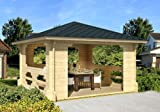 Gartenhaus IBIZA-70 Pavillon Blockhaus Holzhaus 400 x 400 cm - 70 mm