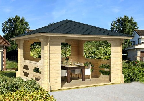 Gartenhaus IBIZA-40 Pavillon Blockhaus Holzhaus 400 x 400 cm - 40 mm