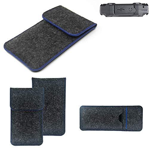 K-S-Trade® Filz Schutz Hülle Für Simvalley Mobile SPT-210 Schutzhülle Filztasche Pouch Tasche Case Sleeve Handyhülle Filzhülle Dunkelgrau, Blauer Rand Rand