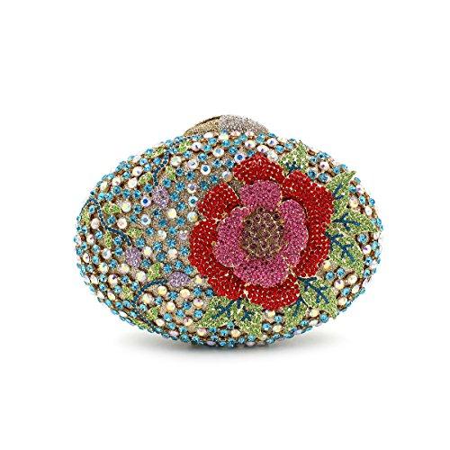 Abendbeutel der europäischen und amerikanischen Stil aristokratischen Tasche Handtasche Messenger Bag oval Blume 2 Farbe color 2