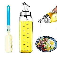 Idea Regalo - DAYNEW Oliera in Vetro,Spray Olio Cucina 500ML,dosatore Olio e Aceto,[Tick di precisione] Prova di Polvere EA Prova di Perdite,oliera salvagoccia per Cucinare,BBQ,Cucina,Insalata,24CM Pennello Regalo
