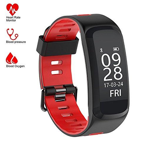 Fitness Tracker, Tigerhu IP68 Smart Armband Activity Tracker Fitness Gesundheit Smartwatch Wristband Bluetooth Uhr, Herzfrequenz Monitor/ Blutdrucktest/ Schlafmonitor/ Wetter/ Temperatur/ Stoppuhr/ Mehrere Sportarten......, Verfügbar, Um es zu Tragen, Während Hände Waschen, Schwimmen, etc. (Rot)
