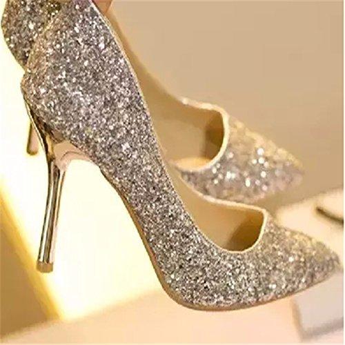 HXVU56546 Nouvelle Mesdames Talon Haut Avec Crystal Petit Haut Chaussures Chaussures Mode Banquet Gold